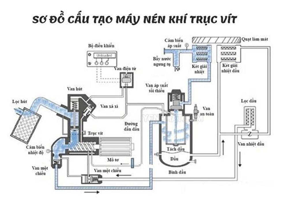 Nguyên lý hoạt động và cấu tạo máy nén khí trục vít